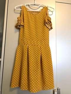 Cold Shoulder Mustard Polka Dots Dress with Short