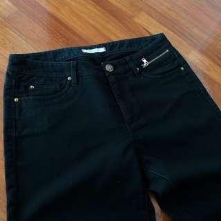 Auth Esprit Black Soft Jeans with Gold Zipper Detail
