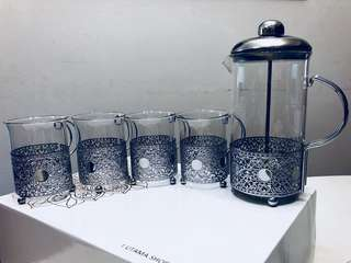 French Press Coffee Maker & Glass Cups Set