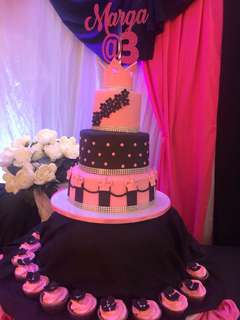 Black and Pink Princess Themed Cake