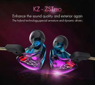 [FREE CASE] BNIB KZ ZST PRO Audiophile Earphones~With/Without mic + Bluetooth (optional )