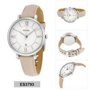 100% Authentic - Fossil Jacqueline Quartz Women's Beige Leather Strap Watch ES3793