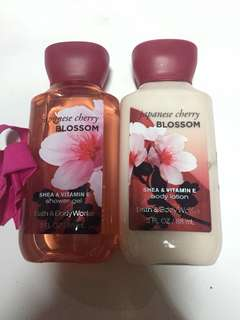 Bath & Body Works, Japanese Cherry Blossom Lotion and Shower Gel