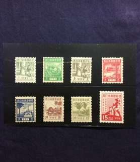 1943 Japanese Occupation Pictorial Issue + Savings Campaign Short Sets 8v