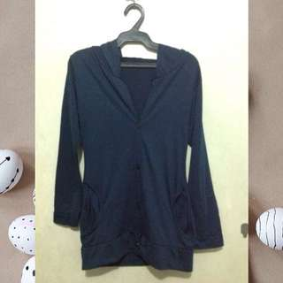 Buttoned Cardigan with Hood