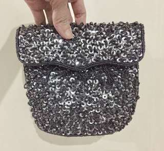 Gray Sequin Mini Purse