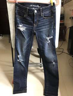 American eagle 深藍 破爛 牛仔褲 jeans