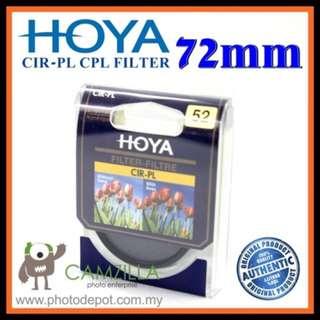 100% Genuine 72MM HOYA Circular Polarizer (CPL) FILTER