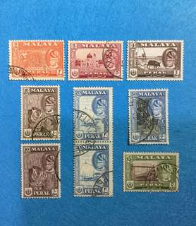 (Reserved)1957 Perak State Definitive  Used Short Set 9V