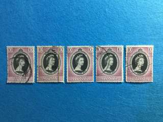 1953 QE 2 Coronation Issue 5 Different States