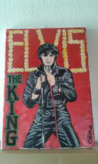 Original hand painted portrait of Elvis, The King. Framed 11 x 14 inches.