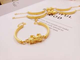 pure gold 999 貔貅金錢  手鐲