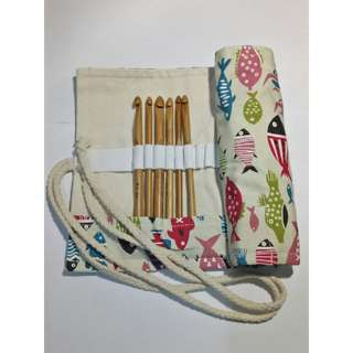 Canvass Crochet Hook Case / Organizer Fish
