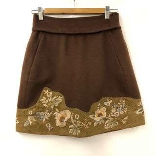 Shiatzy Chen brown with emborderies skirt size F38