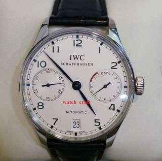 Used Excellent Cond. IWC Watch Portuguese Automatic IW500107 7 Day Auto S/S 42mm Full Set (Year 2014) - Price RM29800.00 incl. Gst