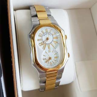 PHILIP STEIN Signature Gold Two Tone Stainless Steel Size 2 Large Unisex Watch 2TG-MWG-SSTG AUTHENTIC!