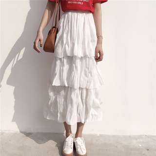 Women White Layered Skirt