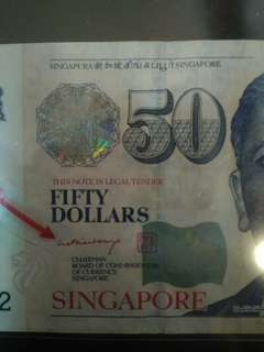 Rare BCCS $50 Sign PM Lee Hsien Loong
