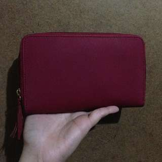 Red zipper wallet - cash & card slots.  1 Item Only