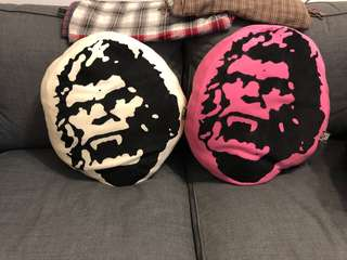 White and pink cushions with ape print. Japanese made