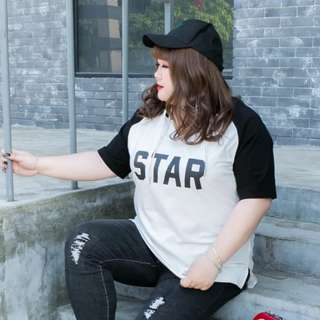 plus size star tee with hood