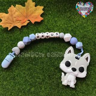 Handmade Customized Pacifier Clip with letter beads + dog Teether