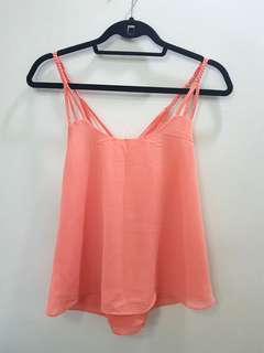 Salmon pink braded top