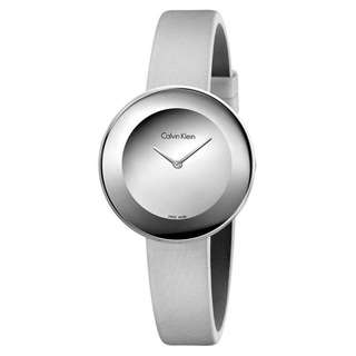 CHIC SILVER DIAL GREY LEATHER STRAP LADIES' WATCH K7N23UP8