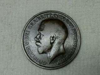 UK King George V 1917 One Penny