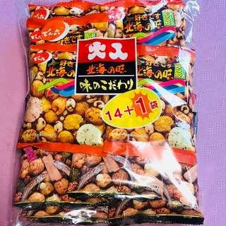 台灣直送.日本制造.北海之味綜合豆/大人好味魚仔豆 14+1入 超級優惠裝