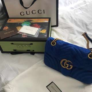 brand new authentic Gucci GG marmont medium blue velvet bag