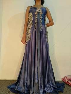 Gown gaun ungu/biru preloved