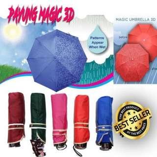 pd Payung 3D / 3dimensi / 3 dimensi - AJAIB - muncul motif jika basah