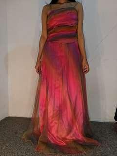 Gown gaun rainbow preloved