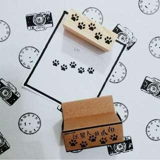 Dog's Paw Print Rubber Stamp 木质汪星人的爪印印章