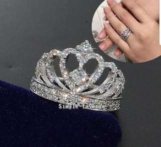 P2mart ✌✔Pre order stock ✔ Crown ring 925 sterling Silver AAAAA zircon cz Wedding Finger band Rings for