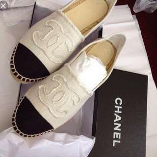 Chanel leather slip on loafers