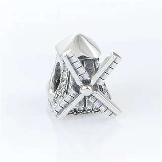 Code MS451 - Windmill 100% 925 Sterling Silver Charm, Chain Is Not Included, Compatible With Pandora