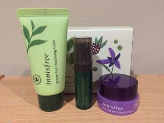 Innisfree 3 Item NEW Skincare Trial Kit (Mini) Green Tea Seed Serum, Cleansing Foam, Orchid Cream