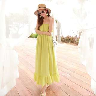 Summer Beach Apple Green Chiffon Long Dress