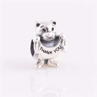 Code S68, Bear Holding A Thank You Ribbon 100% 925 Sterling Silver Charm compatible With Pandora