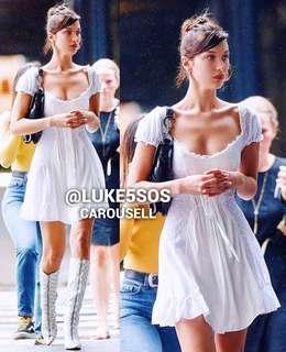 INSTOCKS Broderie corset off shoulder crochet dress - white