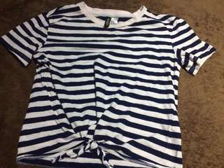 H&M cropped top in blue and white stripes; fits XS-S frames