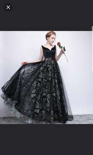 Dual tone low back black dress / evening gown / Wedding Gown