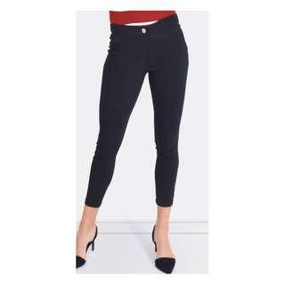 Women's Forcast Vera Slim Cropped Pants Black Work Skinny [AU10]