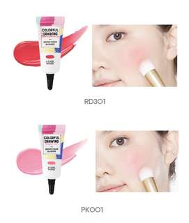 Etude house colorful drawing water color blush