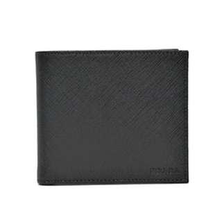 Prada Nero Saffiano Embossed Logo Mens Bifold Wallet