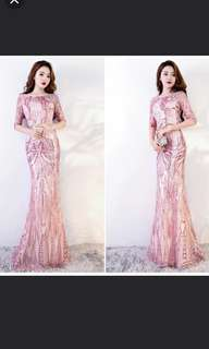 pink mermaid dress / evening gown / Wedding Gown