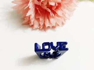 Love Metal Laser Cut Ring Korea Blue