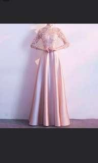 Pink qipao cheongsam design dress / evening gown